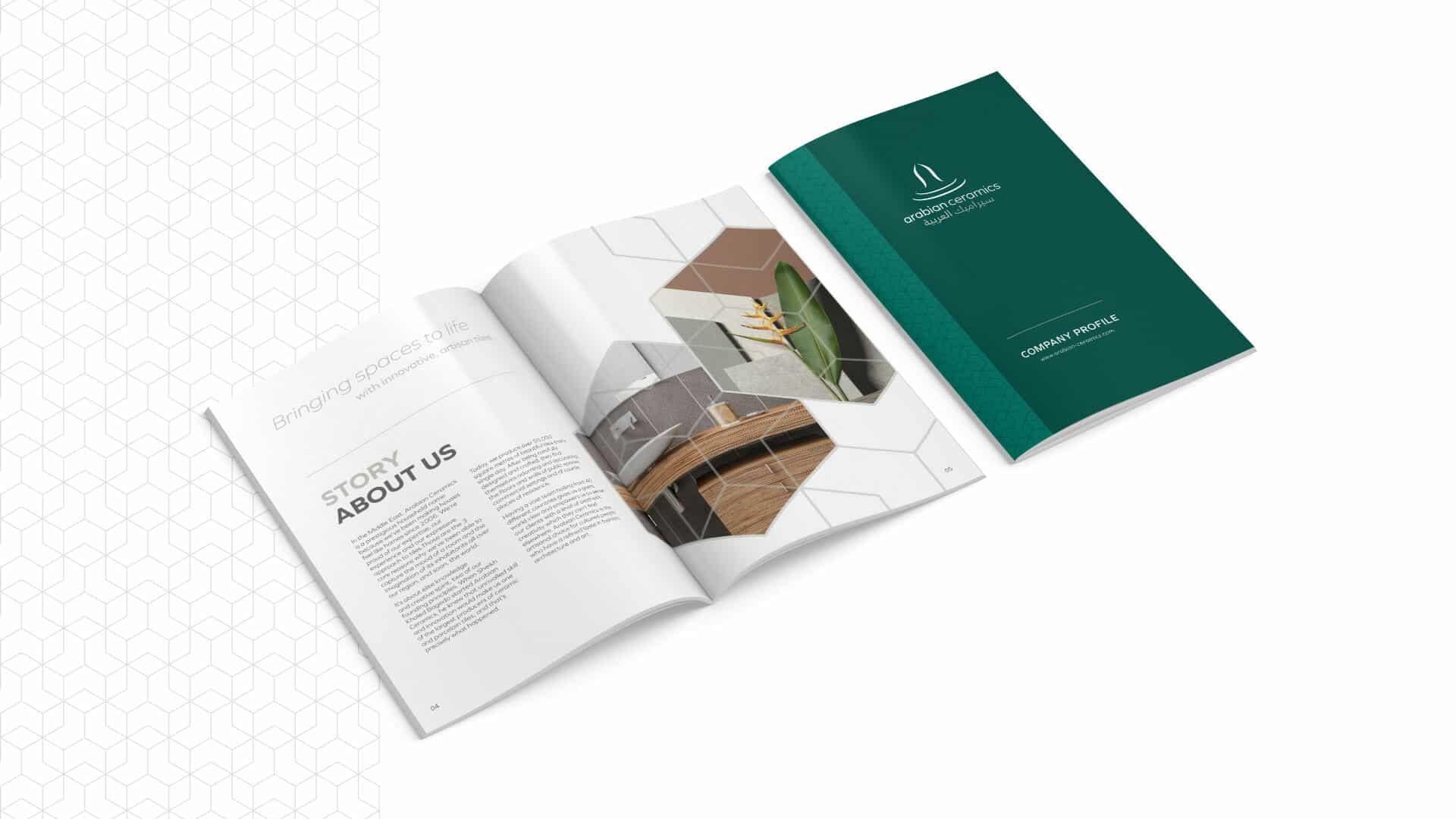 Brochure design for Arabian Ceramics based in Saudia Arabia