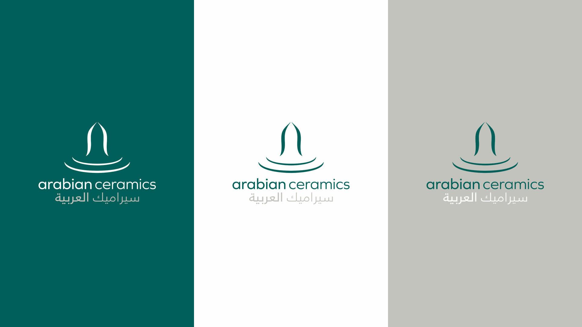 3 different colourway logo for Arabian Ceramics