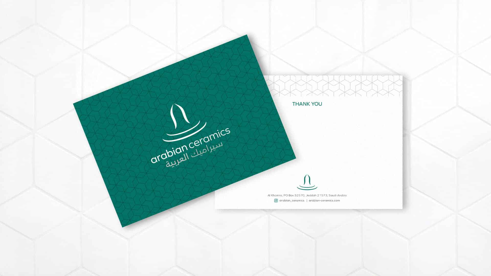 Saudi Arabia based Arabian Ceramics packing and compliments slip design