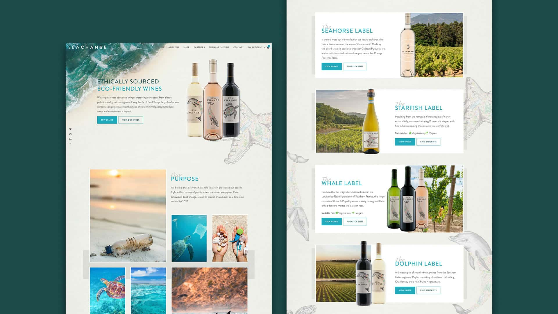 Seachange website redesign with sustability in mind